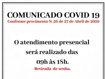 PROVIMENTO N. 26 DE 27 DE ABRIL DE 2020